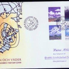 Sellos: SUECIA. 1990. FDC. NUBES Y METEOROLOGÍA.. Lote 295278958