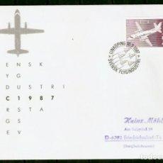 Sellos: SUECIA. 1987. SPD/FDC. AVIÓN. INDUSTRIA AERONÁUTICA SUECA.. Lote 295275868