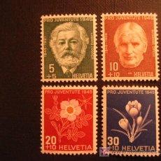 Sellos: SUIZA Nº YVERT 423/6*** AÑO 1945. PRO JUVENTUD. Lote 26807421