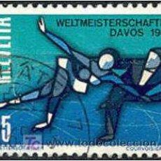 Sellos: SUIZA 1965. CAMPEONATO MUNDIAL DE PATINAJE ARTÍSTICO SOBRE HIELO. Lote 7405341