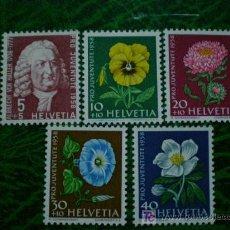 Sellos: SUIZA 1958 IVERT 616/20 *** POR LA JUVENTUD - FLORES Y PERSONAJE. Lote 9320104