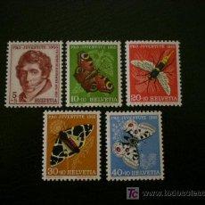 Sellos: SUIZA 1955 IVERT 567/71 *** POR LA JUVENTUD - MARIPOSAS - FAUNA. Lote 23131630