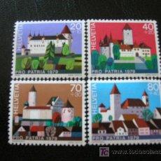 Sellos: SUIZA 1979 IVERT 1086/9 *** POR LA PATRIA - CASTILLOS SUIZOS - MONUMENTOS. Lote 9646884
