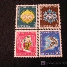 Sellos: SUIZA 1948 IVERT 449/52 *** JUEGOS OLIMPICOS DE INVIERNO DE SANT MORITZ - DEPORTES. Lote 18459038