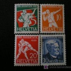 Sellos: SUIZA 1932 IVERT 263/6 *** POR LA JUVENTUD - DEPORTES Y PERSONAJE. Lote 23131602