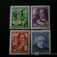 Sellos: SUIZA 1933 IVERT 267/70 *** POR LA JUVENTUD - PERSONAJES. Lote 35786164