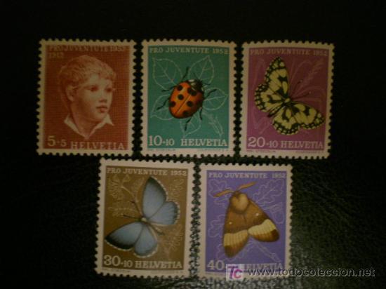 SUIZA 1952 IVERT 526/30 *** POR LA JUVENTUD - MARIPOSAS Y PERSONAJE (Sellos - Extranjero - Europa - Suiza)