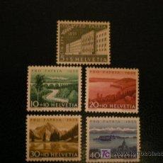 Sellos: SUIZA 1955 IVERT 562/6 *** POR LA PATRIA - PAISAJES Y MONUMENTOS. Lote 23131624