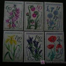 Sellos: CHECOSLOVAQUIA 1964 IVERT 1339/44 * FLORES Y PLANTAS - FLORA. Lote 21906759