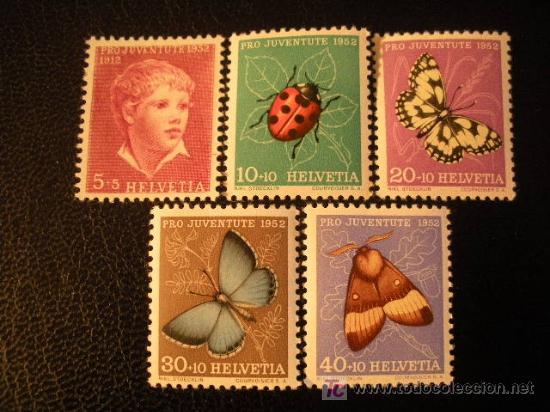 SUIZA 1952 IVERT 526/30 *** POR LA JUVENTUD - PERSONAJE Y MARIPOSAS (Sellos - Extranjero - Europa - Suiza)