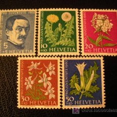Sellos: SUIZA 1960 IVERT 668/72 *** POR LA JUVENTUD - FLORES Y PERSONAJE - FLORA. Lote 18458948