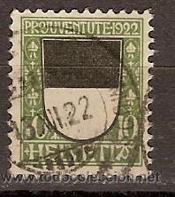 SELLO USADO SUIZA 22 ZUMSTEIN PRO JUVENTUD 1922 (Sellos - Extranjero - Europa - Suiza)