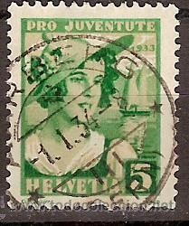 SELLO SUIZA 65 ZUMSTEIN PRO JUVENTUD 1933 (Sellos - Extranjero - Europa - Suiza)