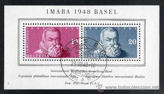 SUIZA AÑO 1948 YV HB 13º* EXPOSICIÓN FILATÉLICA IMABA'48 - PERSONAJES (Sellos - Extranjero - Europa - Suiza)