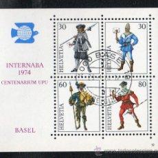 Sellos: SUIZA AÑO 1974 - YV HB 22*º EXPOSICIÓN FILATÉLICA INTERNABA'74 EN BASILEA - UNIFORMES DE CORREOS. Lote 27253310