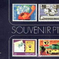 Sellos: SUIZA 1110/3 EN B4 + HOJA RECUERDO EN LIBRITO SOUVENIR PTT, AUTOMOVIL,CHEQUE, COCHE, SELLO, TELEFONO. Lote 19326976