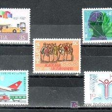 Sellos: SUIZA 1269/73 SIN CHARNELA, AUTOMOVIL, UNIVERSIDAD, INGENIEROS, ARQUITECTOS, AVION, AEROPUERTO,. Lote 20049295
