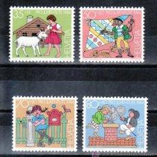 Sellos: SUIZA 1213/6 SIN CHARNELA, PRO-JUVENTUD, PERSONAJES DE CUENTOS, HEIDI, PINOCHO,. Lote 178931278