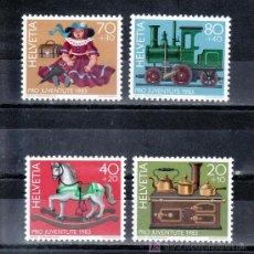 Sellos: SUIZA 1189/92 SIN CHARNELA, PRO-JUVENTUD, JUGUETES ANTIGUOS, COCINA, CABALLO, MUÑECA, FF.CC.,. Lote 178931262