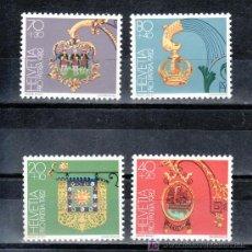 Sellos: SUIZA 1152/5 SIN CHARNELA, PRO-PATRIA, ESCUDOS,. Lote 178931306