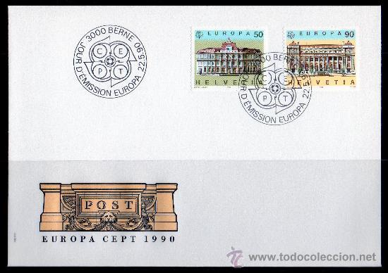 SUIZA - SPD - AÑO 1990 - EUROPA - EDIFICIOS POSTALES - ARQUITECTURA (Sellos - Extranjero - Europa - Suiza)