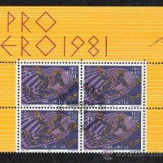 Sellos: SUIZA - AÑO 1981 YV A48 MI 1196 - BLOQUE DE 4 MATASELLADO - PRO AERO'81 - AVIACIÓN. Lote 27522364