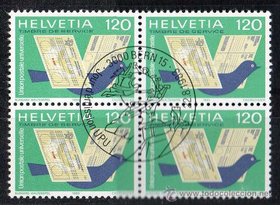 SUIZA - AÑO 1983 YV 462*º SELLO DE SERVICIO - BL4 - UNIÓN POSTAL UNIVERSAL U.P.U. - CORREOS (Sellos - Extranjero - Europa - Suiza)