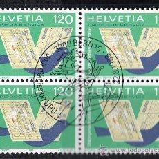 Sellos: SUIZA - AÑO 1983 YV 462*º SELLO DE SERVICIO - BL4 - UNIÓN POSTAL UNIVERSAL U.P.U. - CORREOS. Lote 26002255