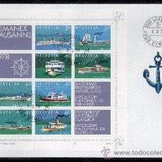 Sellos: SUIZA AÑO 1978 YV HB 23 SPD EXPOSICIÓN NACIONAL DE FILATELIA LEMANEX'78 - BARCOS - TRANSPORTES. Lote 27236689