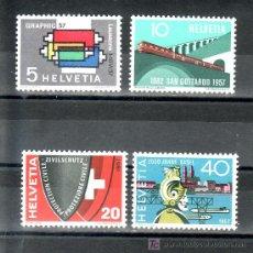 Sellos: SUIZA 586/9 SIN CHARNELA, INDUSTRIAS GRAFICAS, FF.CC., PROTECCION CIVIL, BIMILENARIO DE BASILEA. Lote 18947401