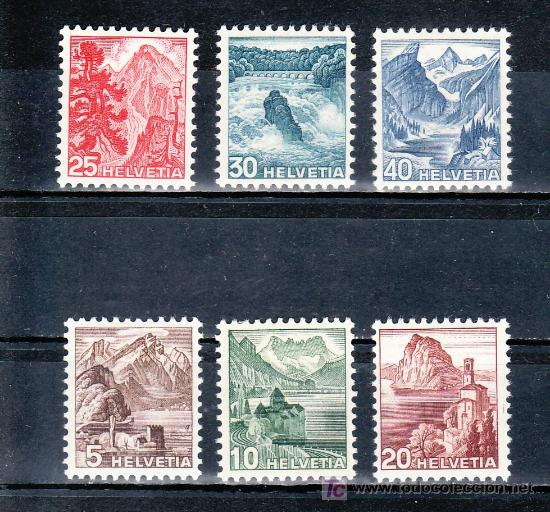 SUIZA 461/6 CON CHARNELA, PARQUES NACIONALES, (Sellos - Extranjero - Europa - Suiza)