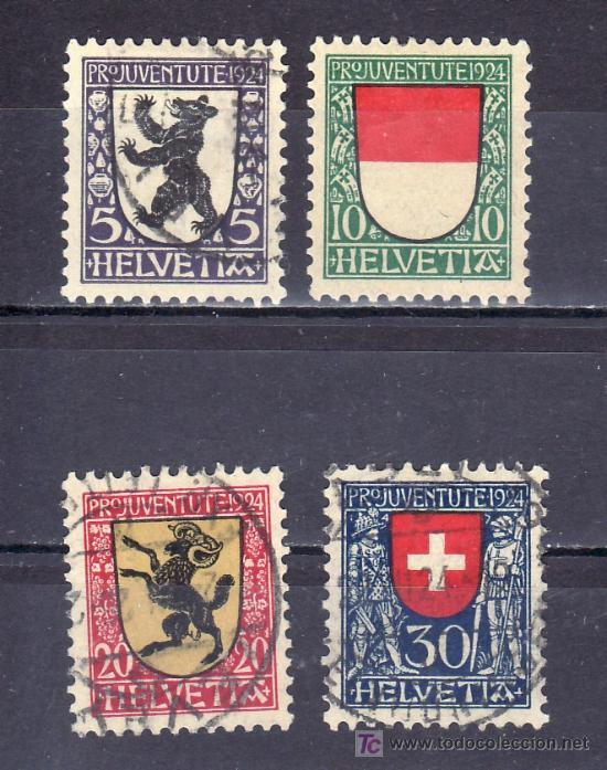 SUIZA 214/7 USADA, PRO JUVENTUD, ESCUDOS DE LOS CANTONES DE SUIZA (Sellos - Extranjero - Europa - Suiza)