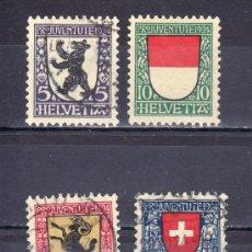 Sellos: SUIZA 214/7 USADA, PRO JUVENTUD, ESCUDOS DE LOS CANTONES DE SUIZA. Lote 19950478