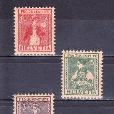 Sellos: SUIZA 154/6 CON CHARNELA, PRO JUVENTUD, VALAIS, CHICA DE UNTERWALDEN, TICINO. Lote 21624646