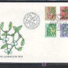 Sellos: SUIZA 972/5 PRIMER DIA, PRO JUVENTUD, FLORES, PLANTAS VENENOSAS DEL BOSQUE . Lote 18764745