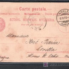 Sellos: SUIZA TARJETA POSTAL MODELO VII 03 CIRCULADA DE WOHLEN (AARGAU) A SEVILLA. Lote 18320051