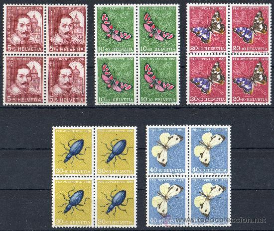 SUIZA AÑO 1956 YV 581/85*** MI 632/36*** BL4 PRO JUVENTUD - MARIPOSAS - FAUNA (Sellos - Extranjero - Europa - Suiza)