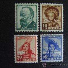 Sellos: SUIZA Nº YVERT 354/7*** AÑO 1940. PRO JUVENTUD.. Lote 23405326