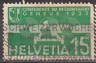 SUIZA IVERT AEREO 16, CONFERENCIA DEL DESARME EN GINEBRA, USADO (Sellos - Extranjero - Europa - Suiza)
