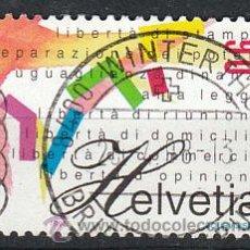 Sellos: SUIZA, IVERT 1566, BICENTENARIO DE LA REPUBLICA HELVETICA (EN ITALIANO), USADO. Lote 25582226