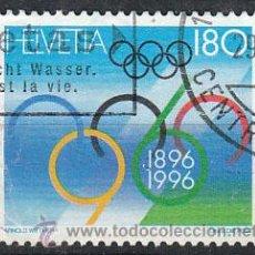Sellos: SUIZA, IVERT 1511, CENTENARIO DE LOS JUEGOS OLIMPICOS, USADO. Lote 25582387