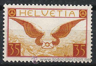 SUIZA IVERT AEREO 12A (PAPEL ORDINARIO), NUEVO CON SEÑAL DE CHARNELA (Sellos - Extranjero - Europa - Suiza)