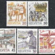 Sellos: SUIZA IVERT 1264/8, EL TRANSPORTE POSTAL A TRAVÉS DE LOS SIGLOS, NUEVO (SERIE COMPLETA). Lote 26433996