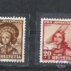 Sellos: SUIZA 1940, YVERT Nº 354/357*, PRO JUVENTUD. FIJASELLOS. Lote 27677216