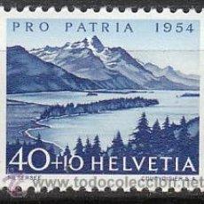 Sellos: SUIZA IVERT 552, LAGO DE SILS (PRO PATRIA 1954), NUEVO CON SEÑAL DE CHARNELA. Lote 28617320