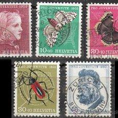 Sellos: SUIZA IVERT 539/43, PRO JUVENTUTE 1953, USADO (SERIE COMPLETA). Lote 28617822