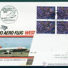 Sellos: SUIZA AÑO 1981 YV A 48 SPD CORREO AEREO - BL4 CON MATASELLOS ZURICH - CHICAGO - AVIONES. Lote 28853512