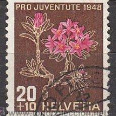 Sellos: SUIZA IVERT 469, RODODENDRO, PRO JUVENTUTE 1948, USADO. Lote 28987441