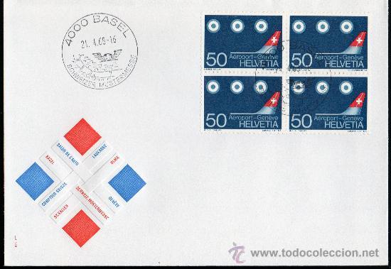 SUIZA AÑO 1968 YV 805 SPD - INAUGURACIÓN DEL NUEVO AEROPUERTO DE GINEBRA - AVIONES - TRANSPORTES (Sellos - Extranjero - Europa - Suiza)