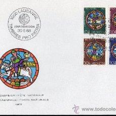 Sellos: SUIZA AÑO 1968 YV 807/10 SPD - PRO PATRIA - FIESTA NACIONAL - VIDRIERAS - ARTESANÍA. Lote 29034208